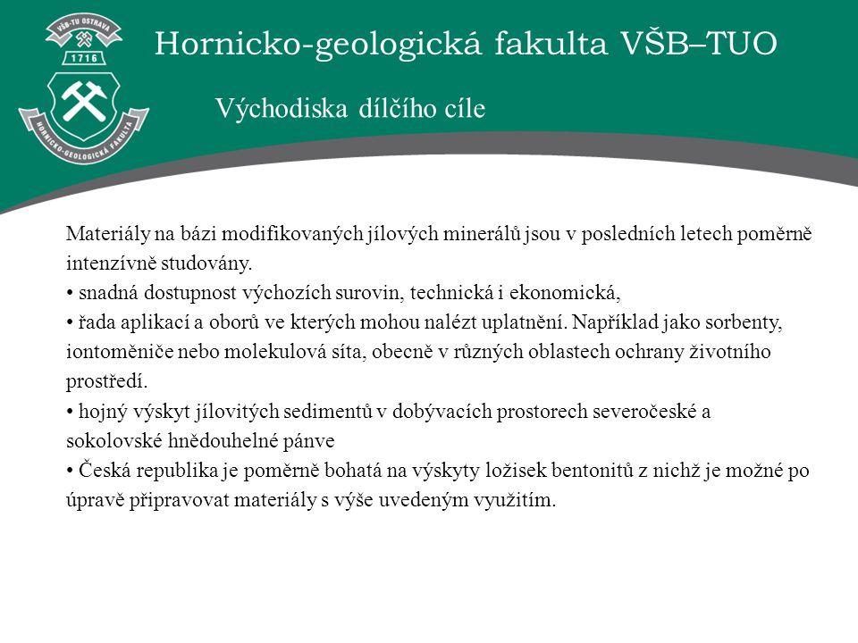 Hornicko-geologická fakulta VŠB–TUO Materiály na bázi modifikovaných jílových minerálů jsou v posledních letech poměrně intenzívně studovány. snadná d
