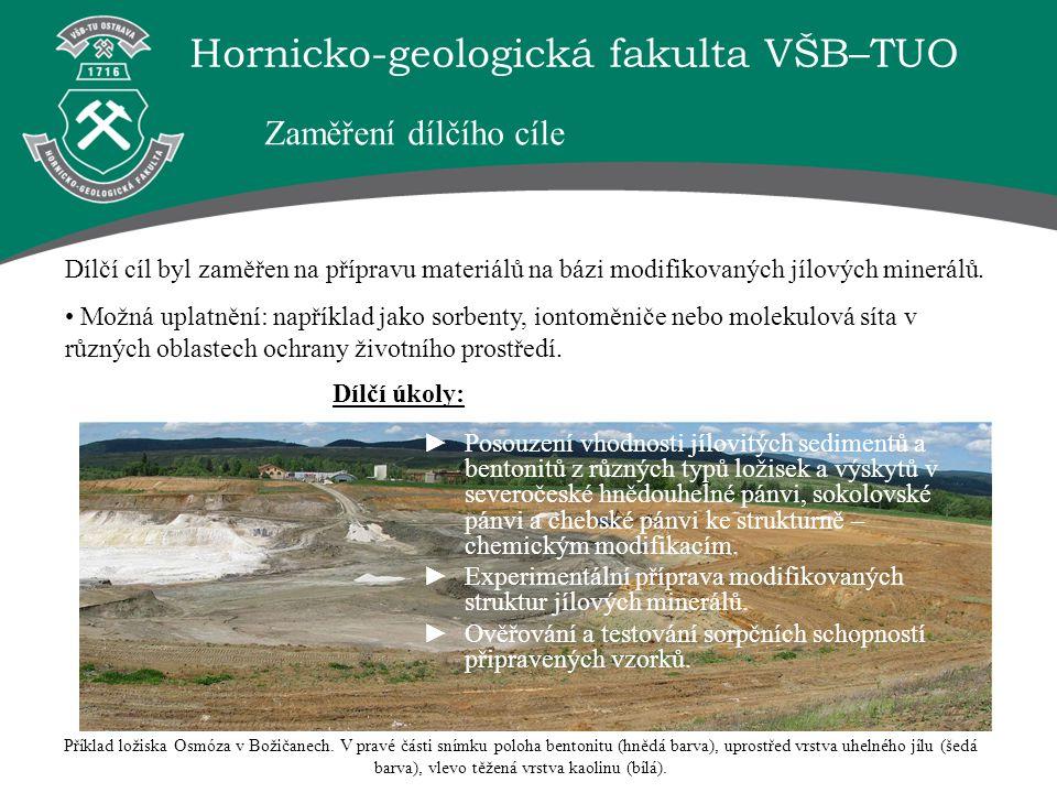 Hornicko-geologická fakulta VŠB–TUO Příklad ložiska Osmóza v Božičanech. V pravé části snímku poloha bentonitu (hnědá barva), uprostřed vrstva uhelnéh