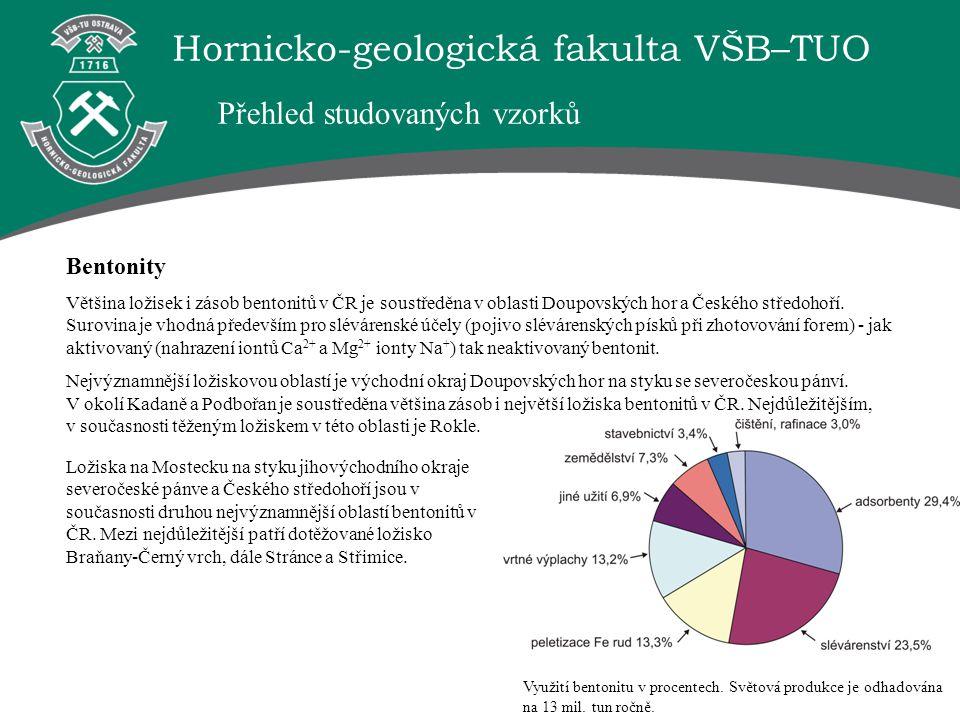 """Hornicko-geologická fakulta VŠB–TUO Závěr V002 - """"Využití jílových sedimentů pro přípravu materiálů vhodných pro ekologické využití. ► na základě provedených analýz chemického a fázového složení byly vybrány vzorky jílových minerálů – smektitů, vhodné pro modifikace; ► metodou natrifikace a interkalace byly v laboratorních podmínkách připraveny modifikované, monoiontové formy jílů; ► experimentálně byly testovány schopnosti modifikovaných jílů sorbovat těžké kovy z průmyslových odpadních vod."""
