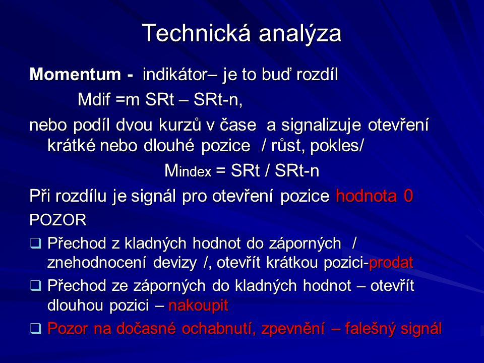 Technická analýza Momentum - indikátor– je to buď rozdíl Mdif =m SRt – SRt-n, Mdif =m SRt – SRt-n, nebo podíl dvou kurzů v čase a signalizuje otevření krátké nebo dlouhé pozice / růst, pokles/ M index = SRt / SRt-n Při rozdílu je signál pro otevření pozice hodnota 0 POZOR  Přechod z kladných hodnot do záporných / znehodnocení devizy /, otevřít krátkou pozici-prodat  Přechod ze záporných do kladných hodnot – otevřít dlouhou pozici – nakoupit  Pozor na dočasné ochabnutí, zpevnění – falešný signál