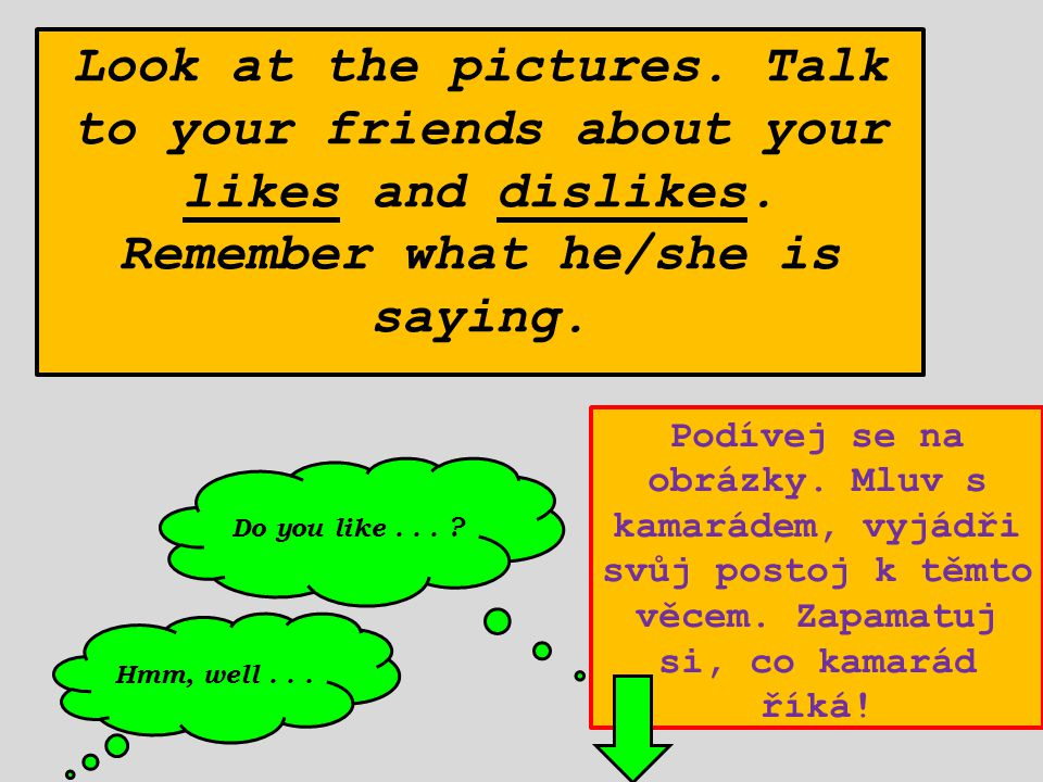 Look at the pictures.Talk to your friends about your likes and dislikes.