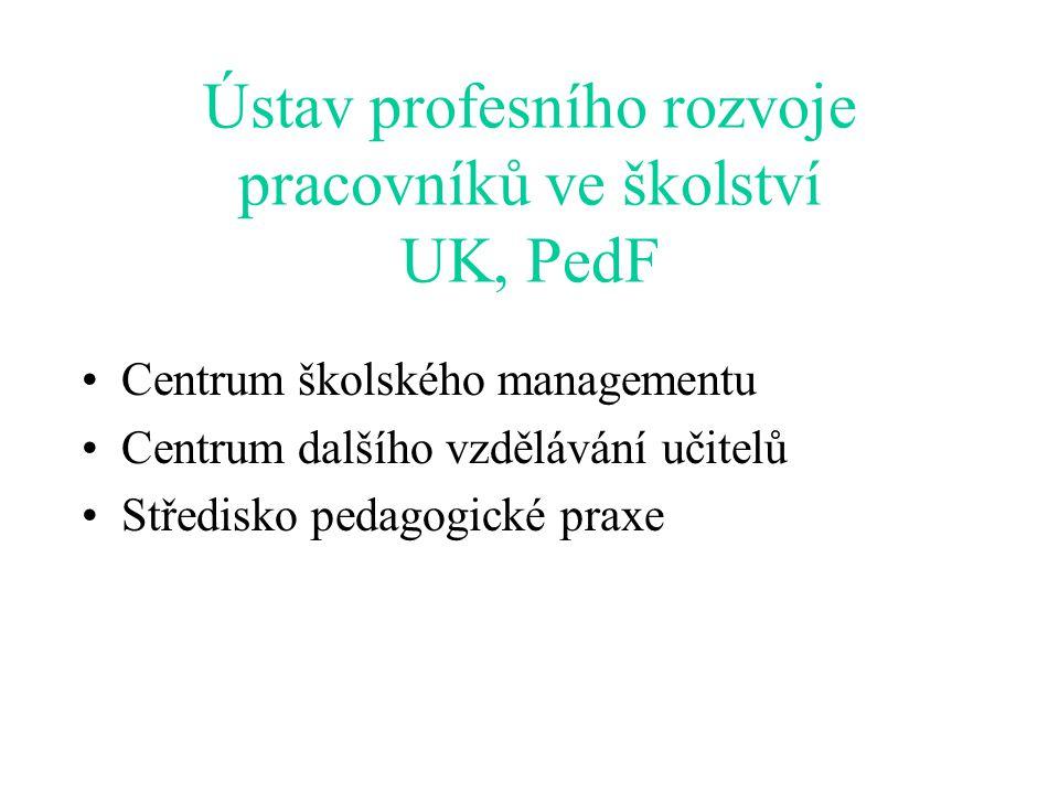 Ústav profesního rozvoje pracovníků ve školství UK, PedF Centrum školského managementu Centrum dalšího vzdělávání učitelů Středisko pedagogické praxe