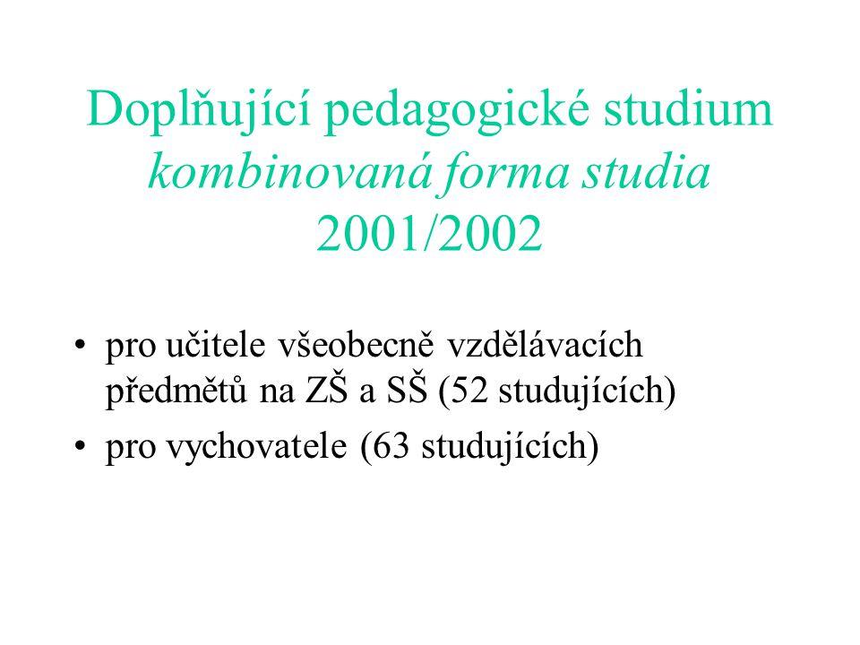 Doplňující pedagogické studium kombinovaná forma studia 2001/2002 pro učitele všeobecně vzdělávacích předmětů na ZŠ a SŠ (52 studujících) pro vychovatele (63 studujících)
