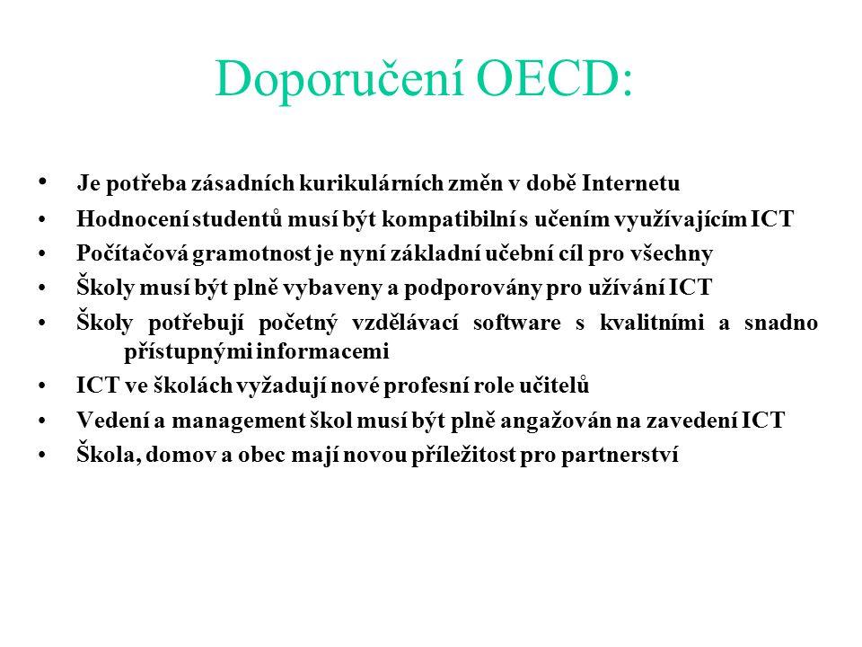 Doporučení OECD: Je potřeba zásadních kurikulárních změn v době Internetu Hodnocení studentů musí být kompatibilní s učením využívajícím ICT Počítačová gramotnost je nyní základní učební cíl pro všechny Školy musí být plně vybaveny a podporovány pro užívání ICT Školy potřebují početný vzdělávací software s kvalitními a snadno přístupnými informacemi ICT ve školách vyžadují nové profesní role učitelů Vedení a management škol musí být plně angažován na zavedení ICT Škola, domov a obec mají novou příležitost pro partnerství
