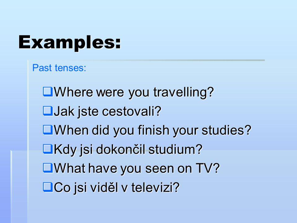  Where were you travelling?  Jak jste cestovali?  When did you finish your studies?  Kdy jsi dokončil studium?  What have you seen on TV?  Co js