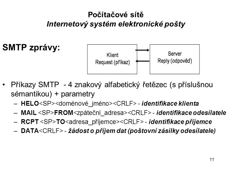 11 Počítačové sítě Internetový systém elektronické pošty SMTP zprávy: Příkazy SMTP - 4 znakový alfabetický řetězec (s příslušnou sémantikou) + parametry –HELO - identifikace klienta –MAIL FROM - identifikace odesílatele –RCPT TO - identifikace příjemce –DATA - žádost o příjem dat (poštovní zásilky odesílatele)
