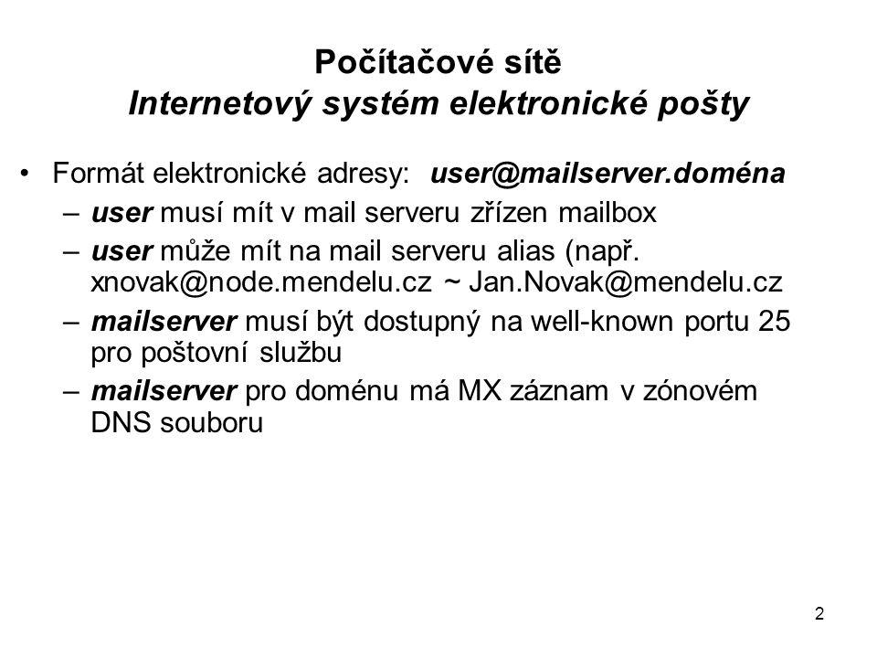 Počítačové sítě Internetový systém elektronické pošty Formát elektronické adresy: user@mailserver.doména –user musí mít v mail serveru zřízen mailbox –user může mít na mail serveru alias (např.