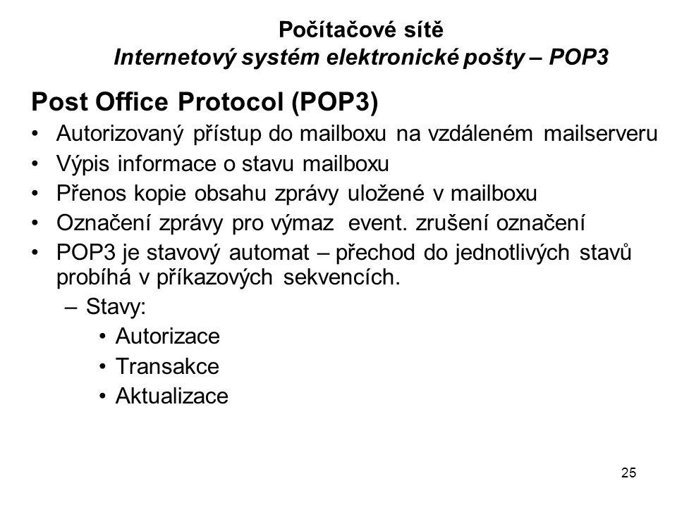 25 Počítačové sítě Internetový systém elektronické pošty – POP3 Post Office Protocol (POP3) Autorizovaný přístup do mailboxu na vzdáleném mailserveru Výpis informace o stavu mailboxu Přenos kopie obsahu zprávy uložené v mailboxu Označení zprávy pro výmaz event.