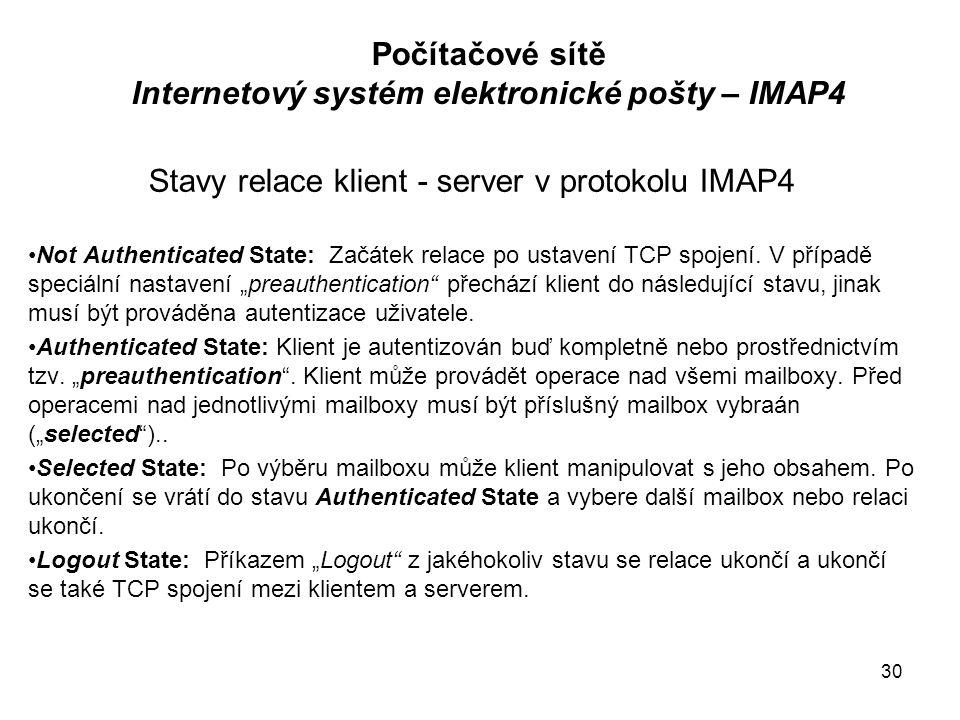 """Stavy relace klient - server v protokolu IMAP4 Not Authenticated State: Začátek relace po ustavení TCP spojení. V případě speciální nastavení """"preauth"""