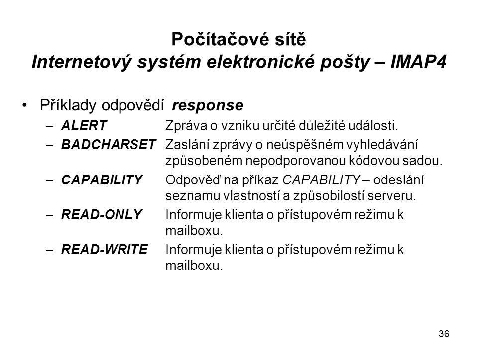 Počítačové sítě Internetový systém elektronické pošty – IMAP4 Příklady odpovědí response –ALERT Zpráva o vzniku určité důležité události.