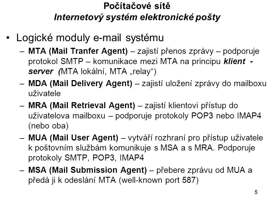 """5 Počítačové sítě Internetový systém elektronické pošty Logické moduly e-mail systému –MTA (Mail Tranfer Agent) – zajistí přenos zprávy – podporuje protokol SMTP – komunikace mezi MTA na principu klient - server (MTA lokální, MTA """"relay ) –MDA (Mail Delivery Agent) – zajistí uložení zprávy do mailboxu uživatele –MRA (Mail Retrieval Agent) – zajistí klientovi přístup do uživatelova mailboxu – podporuje protokoly POP3 nebo IMAP4 (nebo oba) –MUA (Mail User Agent) – vytváří rozhraní pro přístup uživatele k poštovním službám komunikuje s MSA a s MRA."""
