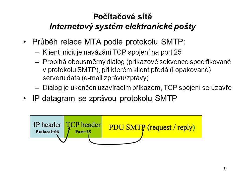 9 Průběh relace MTA podle protokolu SMTP: –Klient iniciuje navázání TCP spojení na port 25 –Probíhá obousměrný dialog (příkazové sekvence specifikovan