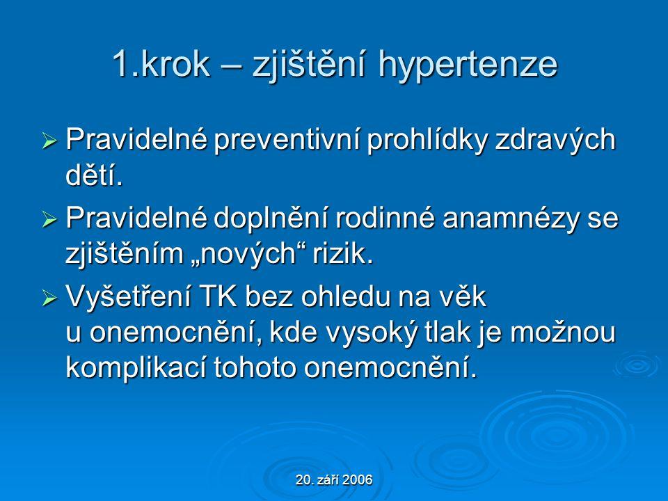 20. září 2006 1.krok – zjištění hypertenze  Pravidelné preventivní prohlídky zdravých dětí.