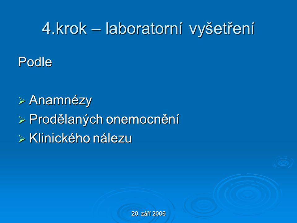 20. září 2006 4.krok – laboratorní vyšetření Podle  Anamnézy  Prodělaných onemocnění  Klinického nálezu