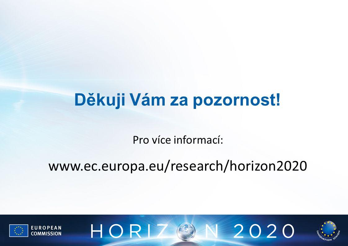Děkuji Vám za pozornost! Pro více informací: www.ec.europa.eu/research/horizon2020