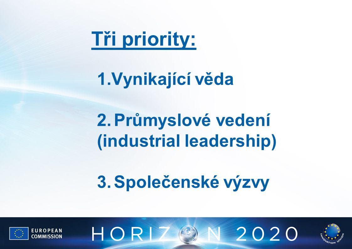 1.Vynikající věda 2.Průmyslové vedení (industrial leadership) 3.Společenské výzvy Tři priority: