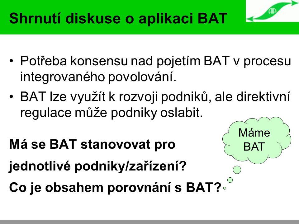 Shrnutí diskuse o aplikaci BAT Potřeba konsensu nad pojetím BAT v procesu integrovaného povolování. BAT lze využít k rozvoji podniků, ale direktivní r