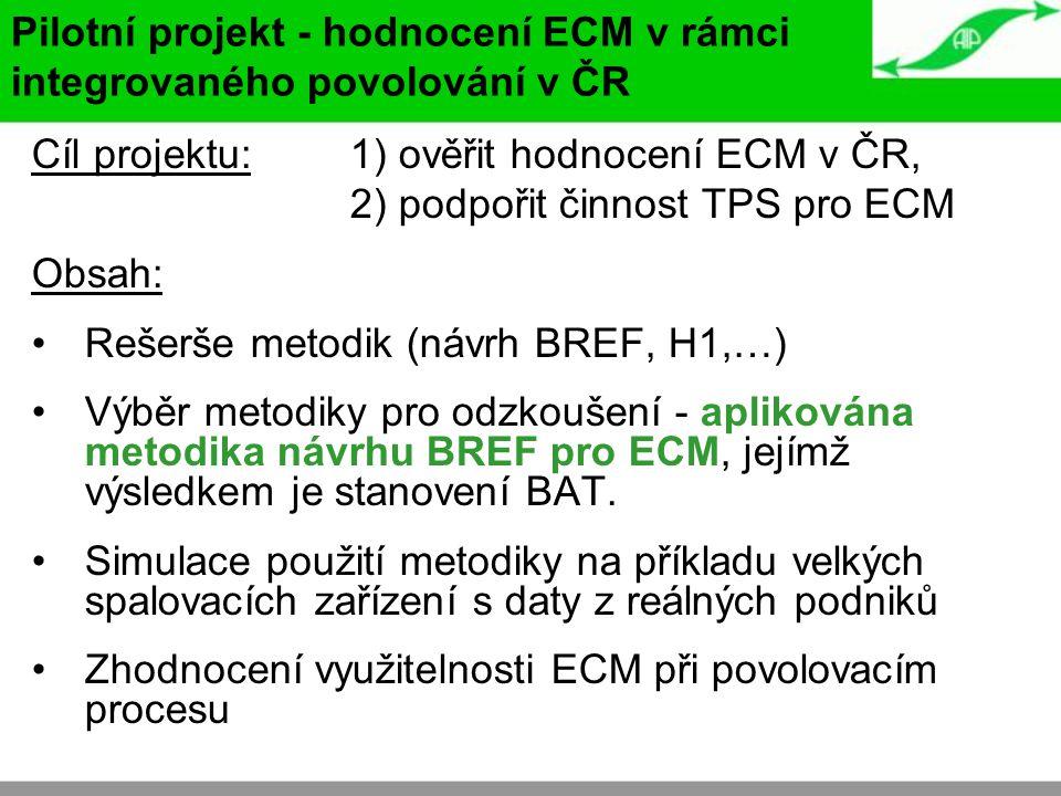 Cíl projektu: 1) ověřit hodnocení ECM v ČR, 2) podpořit činnost TPS pro ECM Obsah: Rešerše metodik (návrh BREF, H1,…) Výběr metodiky pro odzkoušení -