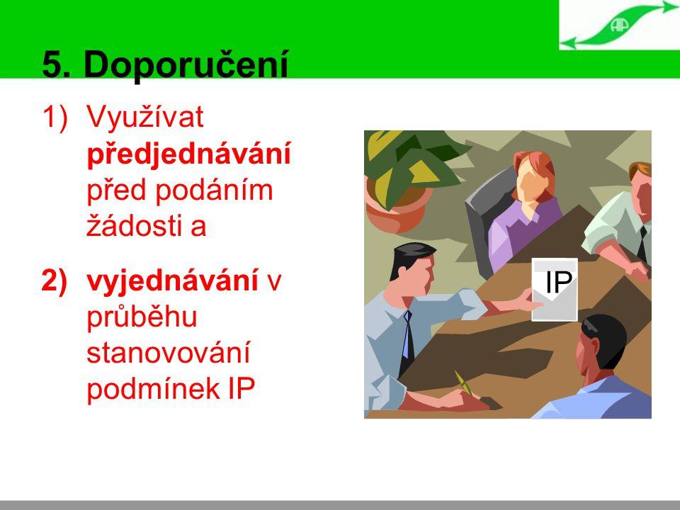 5. Doporučení 1)Využívat předjednávání před podáním žádosti a 2)vyjednávání v průběhu stanovování podmínek IP IP