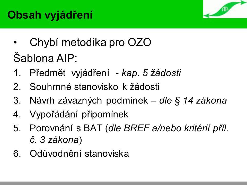 Chybí metodika pro OZO Šablona AIP: 1.Předmět vyjádření - kap.
