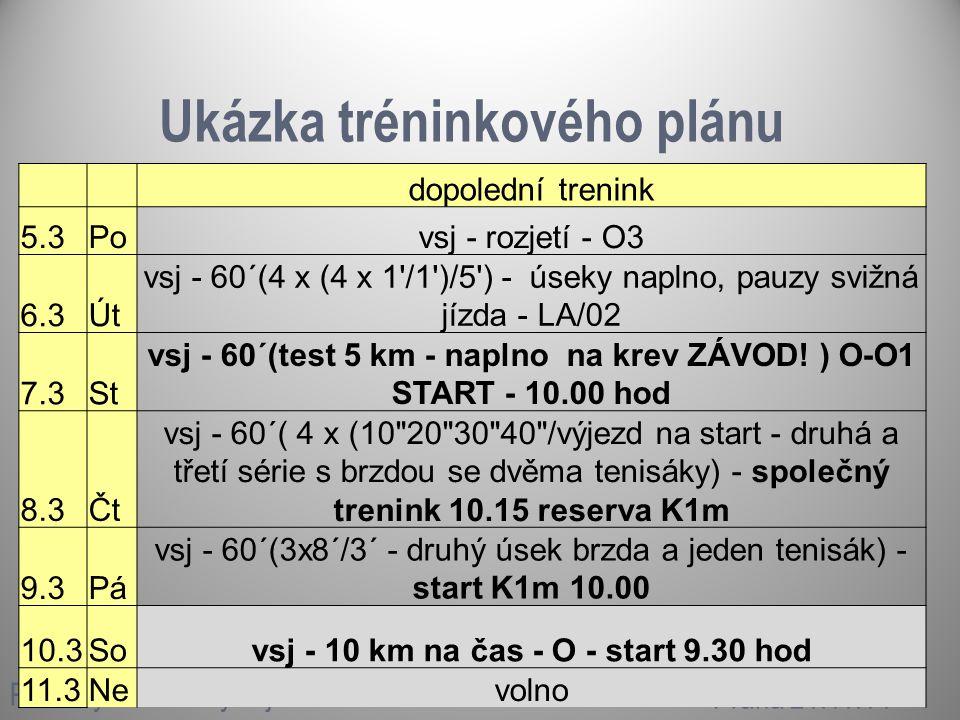 Ukázka tréninkového plánu Příklady tréninkových jednotek Praha 21.11.14 dopolední trenink 5.3Povsj - rozjetí - O3 6.3Út vsj - 60´(4 x (4 x 1 /1 )/5 ) - úseky naplno, pauzy svižná jízda - LA/02 7.3St vsj - 60´(test 5 km - naplno na krev ZÁVOD.