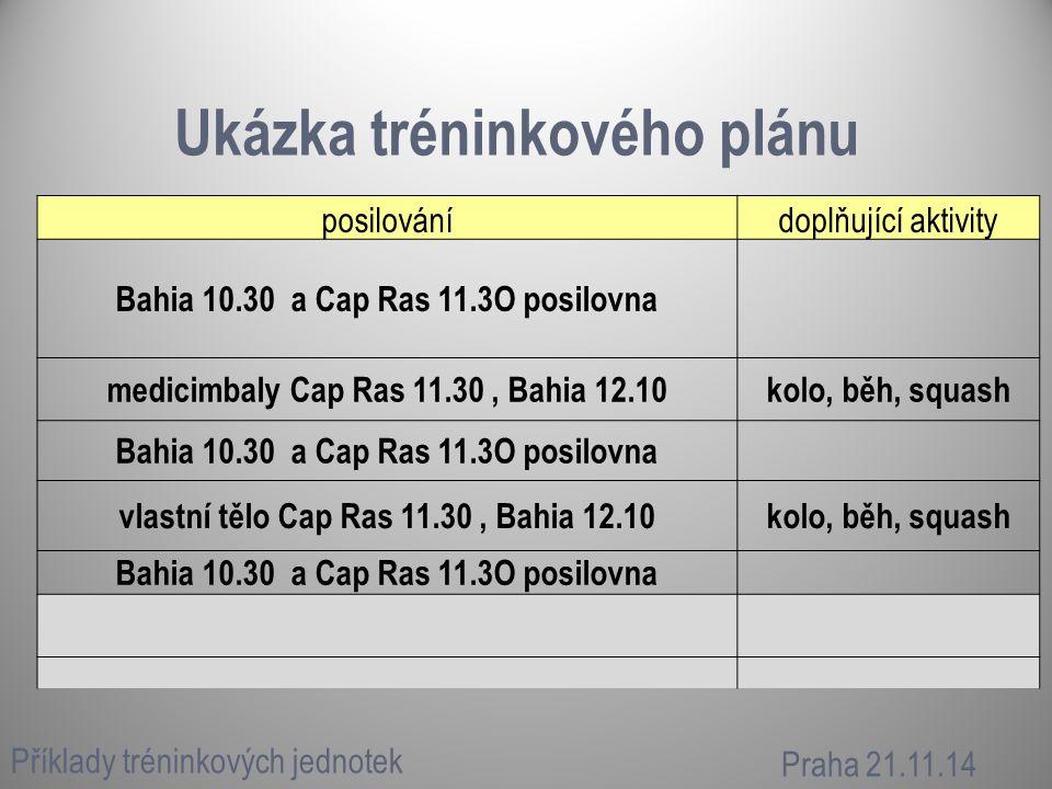 Ukázka tréninkového plánu Příklady tréninkových jednotek Praha 21.11.14 posilovánídoplňující aktivity Bahia 10.30 a Cap Ras 11.3O posilovna medicimbaly Cap Ras 11.30, Bahia 12.10kolo, běh, squash Bahia 10.30 a Cap Ras 11.3O posilovna vlastní tělo Cap Ras 11.30, Bahia 12.10kolo, běh, squash Bahia 10.30 a Cap Ras 11.3O posilovna
