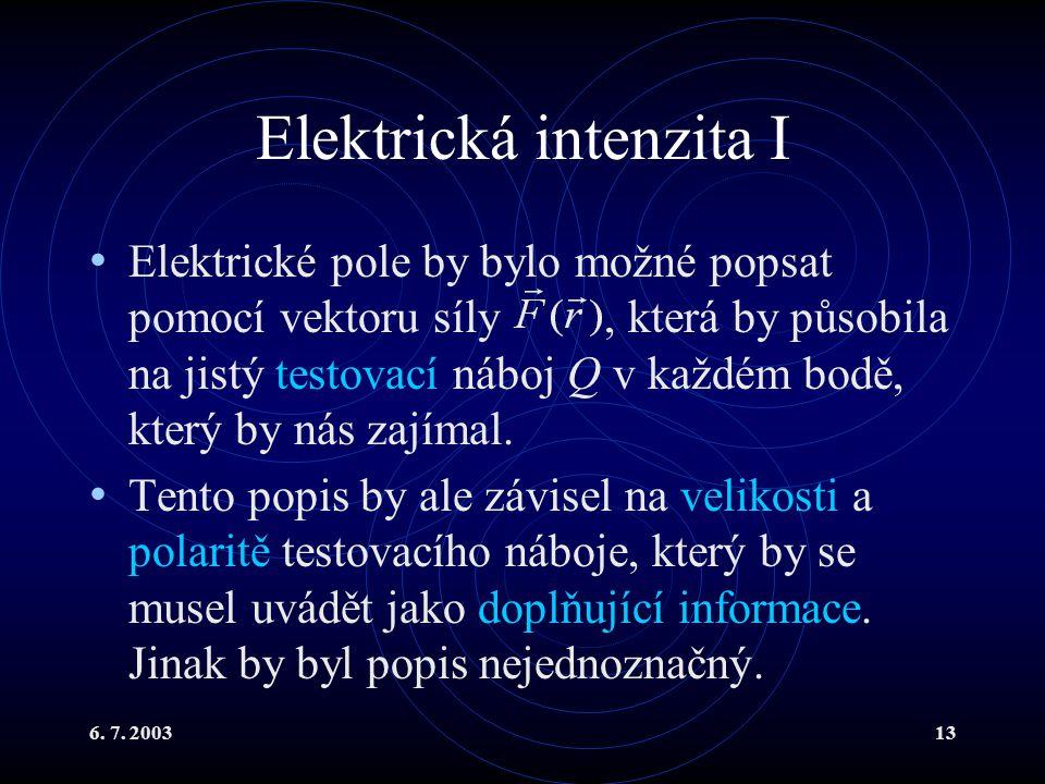 6. 7. 200313 Elektrická intenzita I Elektrické pole by bylo možné popsat pomocí vektoru síly, která by působila na jistý testovací náboj Q v každém bo
