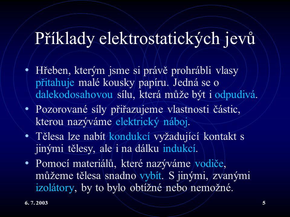 6. 7. 20035 Příklady elektrostatických jevů Hřeben, kterým jsme si právě prohrábli vlasy přitahuje malé kousky papíru. Jedná se o dalekodosahovou sílu