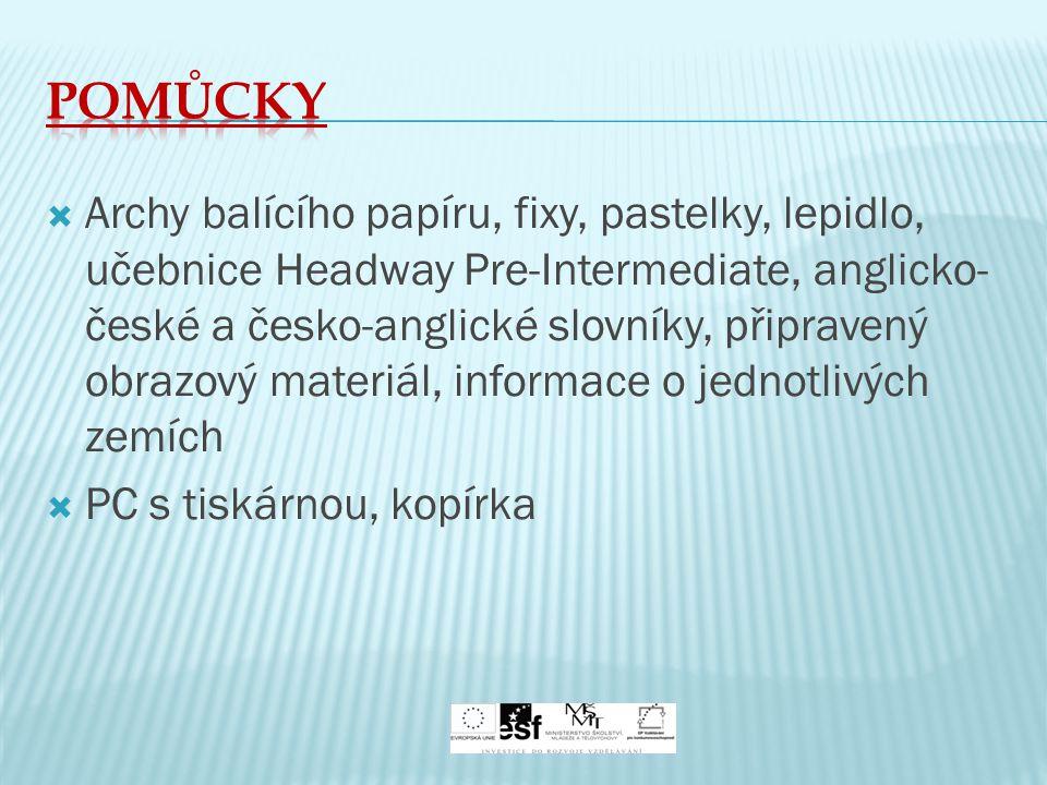  Archy balícího papíru, fixy, pastelky, lepidlo, učebnice Headway Pre-Intermediate, anglicko- české a česko-anglické slovníky, připravený obrazový ma
