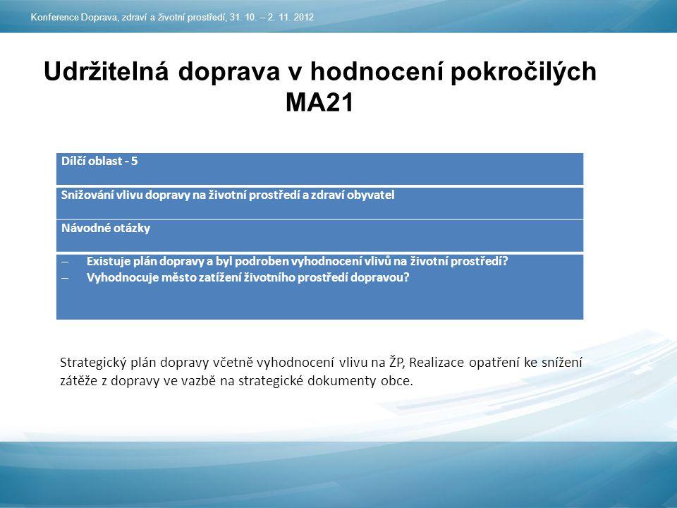 Udržitelná doprava v hodnocení pokročilých MA21 Konference Doprava, zdraví a životní prostředí, 31.