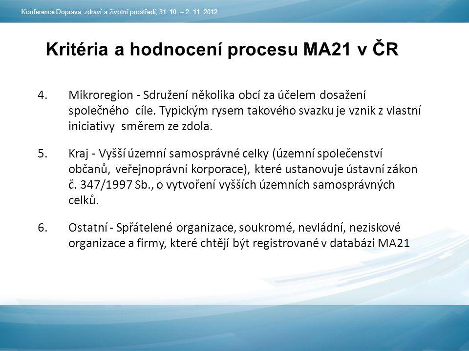 Kritéria a hodnocení procesu MA21 v ČR 4.Mikroregion - Sdružení několika obcí za účelem dosažení společného cíle.