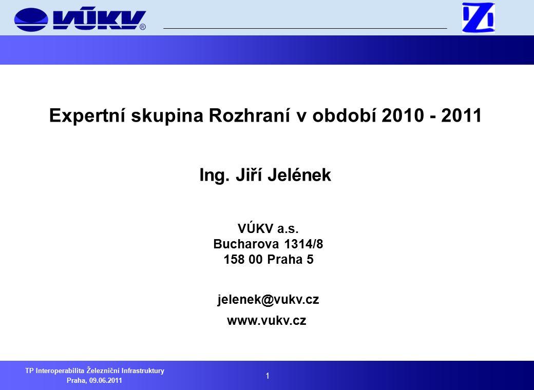 2 TP Interoperabilita Železniční Infrastruktury Praha, 09.06.2011 1Skupina Rozhraní v době od 8.