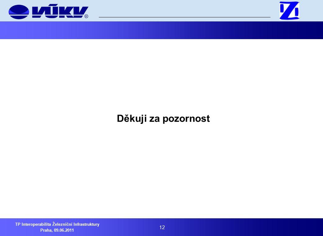 12 TP Interoperabilita Železniční Infrastruktury Praha, 09.06.2011 Děkuji za pozornost