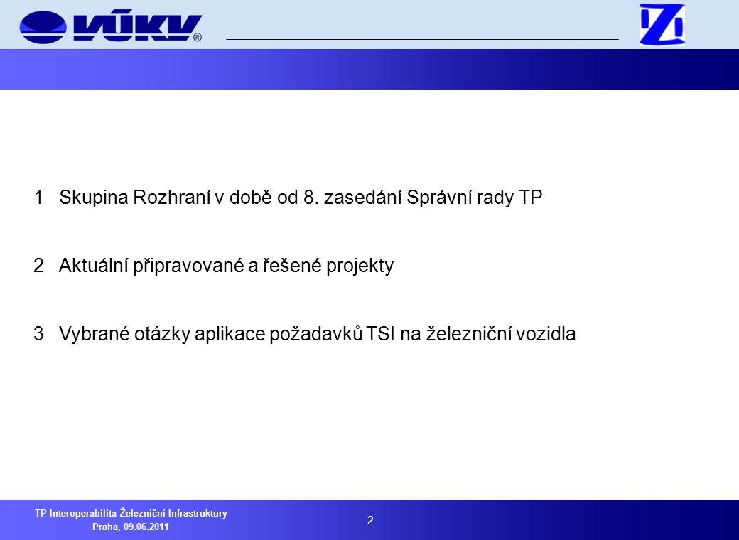 3 TP Interoperabilita Železniční Infrastruktury Praha, 09.06.2011 1Skupina Rozhraní v době od 8.