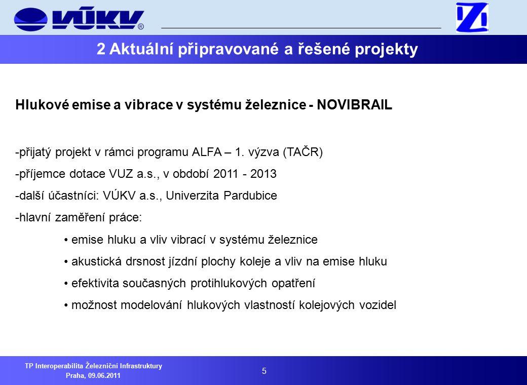 5 TP Interoperabilita Železniční Infrastruktury Praha, 09.06.2011 2 Aktuální připravované a řešené projekty Hlukové emise a vibrace v systému železnice - NOVIBRAIL -přijatý projekt v rámci programu ALFA – 1.