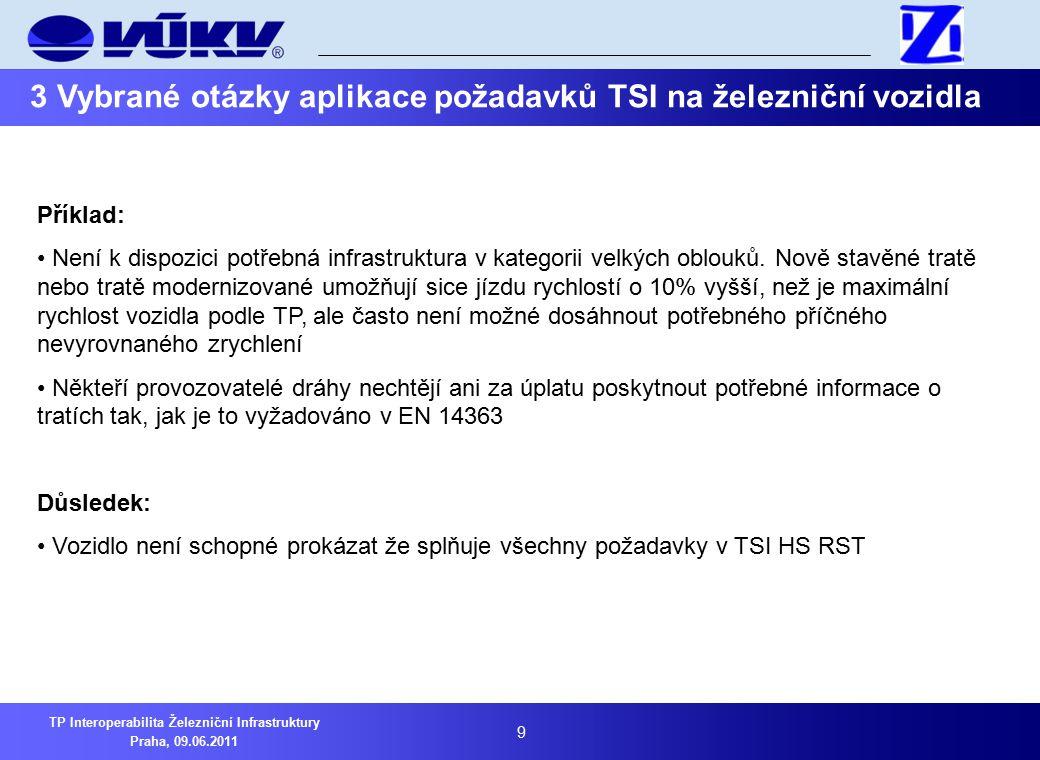10 TP Interoperabilita Železniční Infrastruktury Praha, 09.06.2011 3 Vybrané otázky aplikace požadavků TSI na železniční vozidla 3.3 Otázka možnosti naplnění požadavků na aerodynamické zkoušky v tunelu Pro prokázání vlastností vozidla při průjezdu tunelem jsou předepsány zkoušky v souladu s TSI HS RST Naplnění zde uvedených požadavků je problematické Příklad .