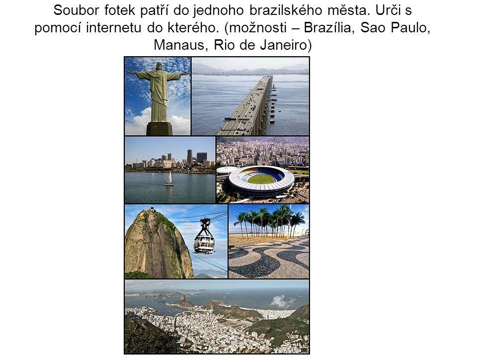 Soubor fotek patří do jednoho brazilského města. Urči s pomocí internetu do kterého. (možnosti – Brazília, Sao Paulo, Manaus, Rio de Janeiro)