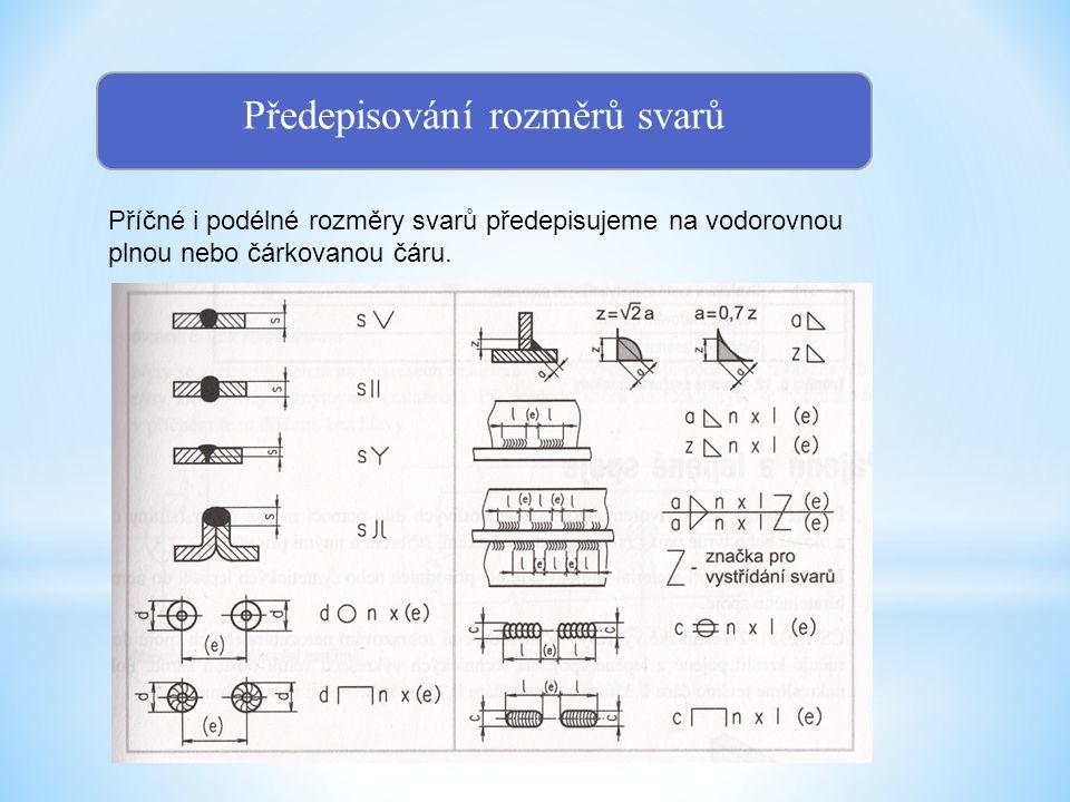 Předepisování svařovací metody Svařovací metodu a polohu svařování předepisujeme za vidlici odkazové čáry.