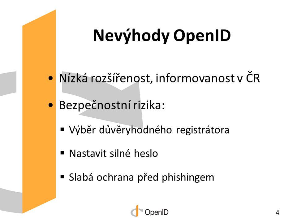Nevýhody OpenID Nízká rozšířenost, informovanost v ČR Bezpečnostní rizika:  Výběr důvěryhodného registrátora  Nastavit silné heslo  Slabá ochrana před phishingem 4