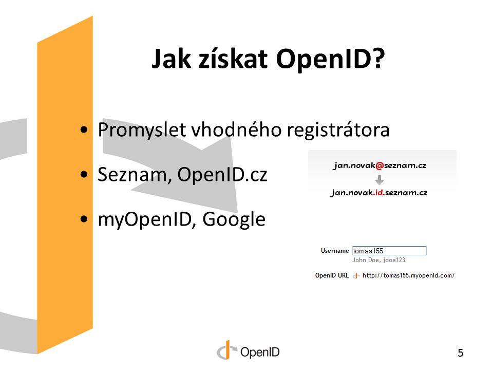 Jak získat OpenID Promyslet vhodného registrátora Seznam, OpenID.cz myOpenID, Google 5