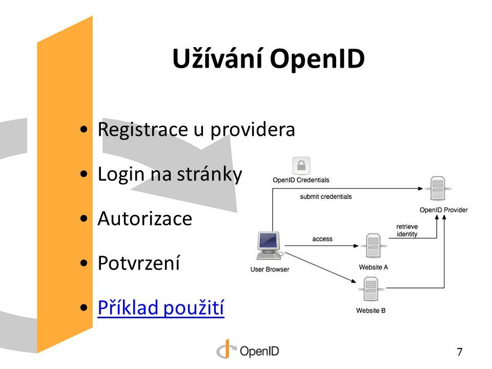 Užívání OpenID Registrace u providera Login na stránky Autorizace Potvrzení Příklad použití 7