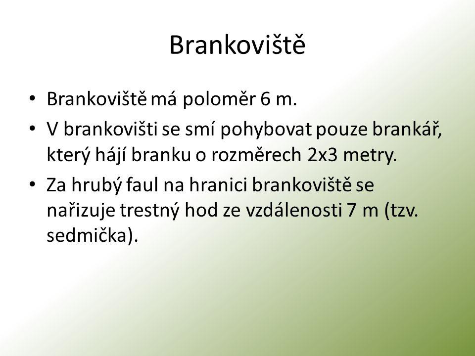 Brankoviště Brankoviště má poloměr 6 m. V brankovišti se smí pohybovat pouze brankář, který hájí branku o rozměrech 2x3 metry. Za hrubý faul na hranic