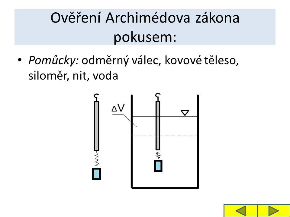 Ověření Archimédova zákona pokusem: Pomůcky: odměrný válec, kovové těleso, siloměr, nit, voda