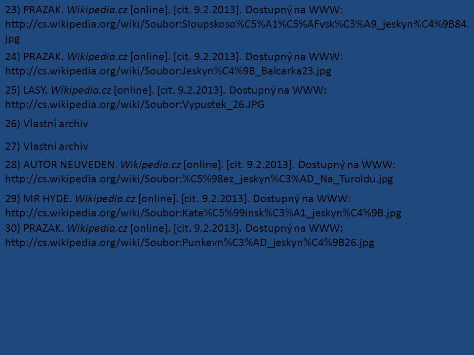 23) PRAZAK. Wikipedia.cz [online]. [cit. 9.2.2013]. Dostupný na WWW: http://cs.wikipedia.org/wiki/Soubor:Sloupskoso%C5%A1%C5%AFvsk%C3%A9_jeskyn%C4%9B8