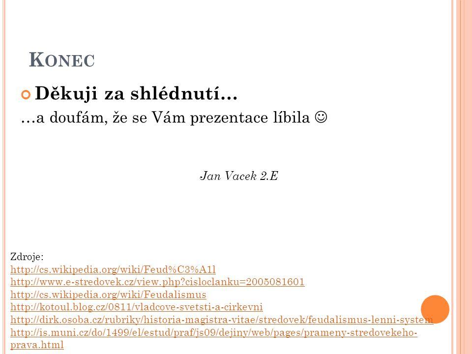 K ONEC Děkuji za shlédnutí… …a doufám, že se Vám prezentace líbila Jan Vacek 2.E Zdroje: http://cs.wikipedia.org/wiki/Feud%C3%A1l http://www.e-stredov