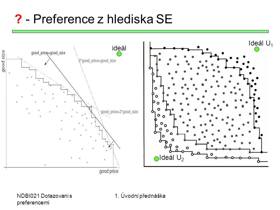 NDBI021 Dotazovani s preferencemi ? - Preference z hlediska SE ideál Ideál U 1 Ideál U 2 1. Úvodní přednáška