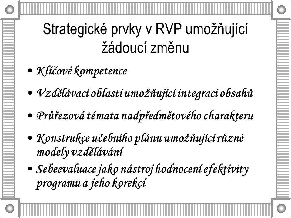 Strategické prvky v RVP umožňující žádoucí změnu Klíčové kompetence Vzdělávací oblasti umožňující integraci obsahů Průřezová témata nadpředmětového charakteru Konstrukce učebního plánu umožňující různé modely vzdělávání Sebeevaluace jako nástroj hodnocení efektivity programu a jeho korekcí