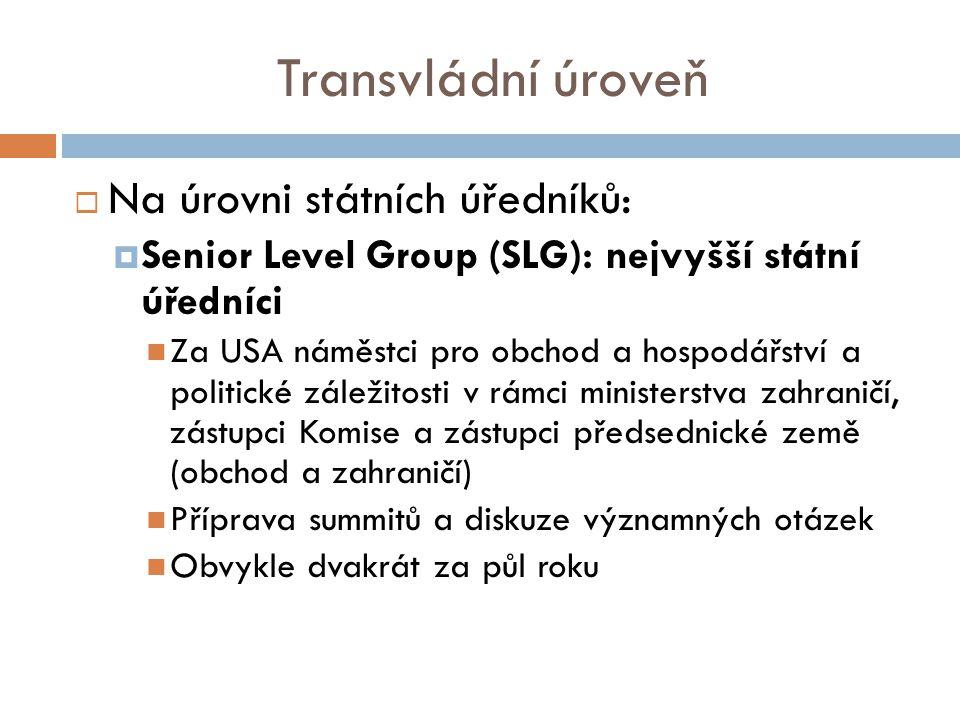 Transvládní úroveň  Na úrovni státních úředníků:  Senior Level Group (SLG): nejvyšší státní úředníci Za USA náměstci pro obchod a hospodářství a politické záležitosti v rámci ministerstva zahraničí, zástupci Komise a zástupci předsednické země (obchod a zahraničí) Příprava summitů a diskuze významných otázek Obvykle dvakrát za půl roku
