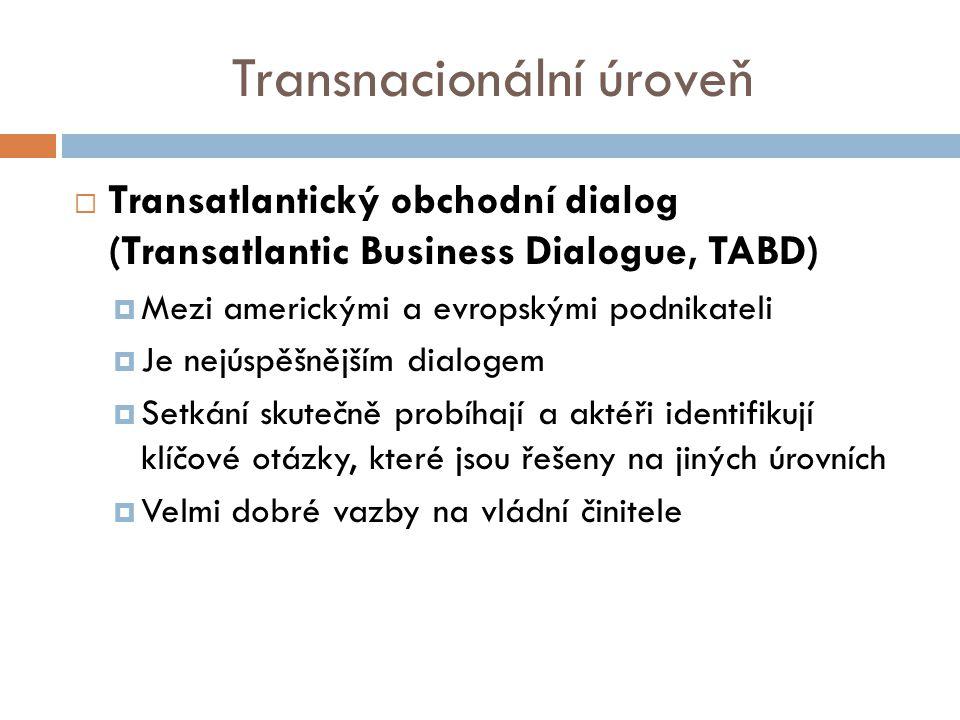 Transnacionální úroveň  Transatlantický obchodní dialog (Transatlantic Business Dialogue, TABD)  Mezi americkými a evropskými podnikateli  Je nejúspěšnějším dialogem  Setkání skutečně probíhají a aktéři identifikují klíčové otázky, které jsou řešeny na jiných úrovních  Velmi dobré vazby na vládní činitele