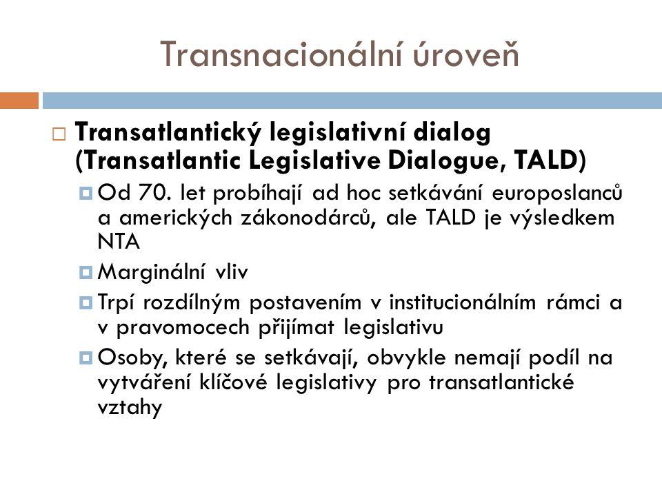 Transnacionální úroveň  Transatlantický legislativní dialog (Transatlantic Legislative Dialogue, TALD)  Od 70.